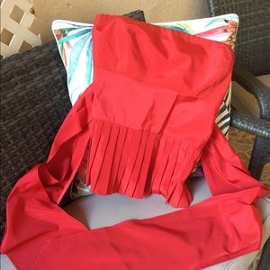 Zara, Red Satin strapless top